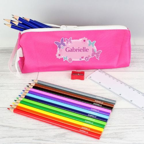 Pink Butterfly Pencil Case & Personalised Contents